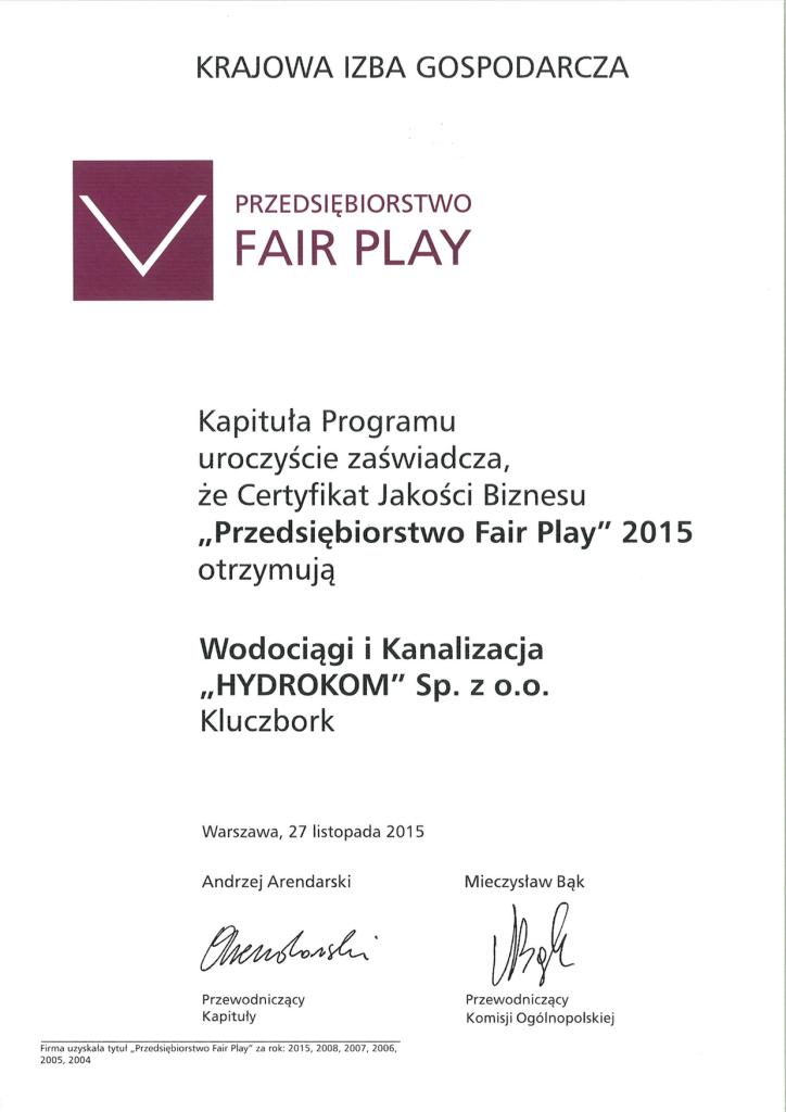 Dyplom - Przedsiębiorstwo Fair Play 2015